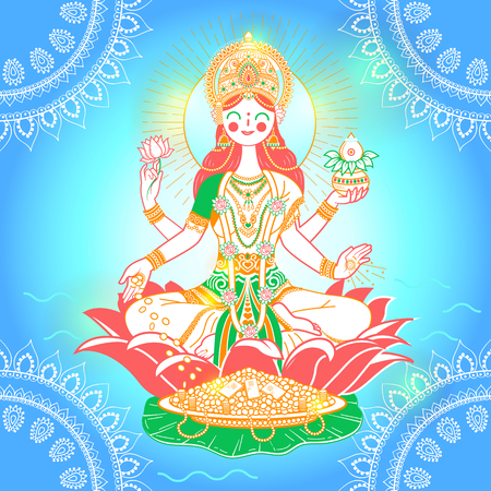 Beautiful Illustration,Poster Or Banner With Goddess Maa Laxmi Of Indian Dhanteras Festival Background. Illustration