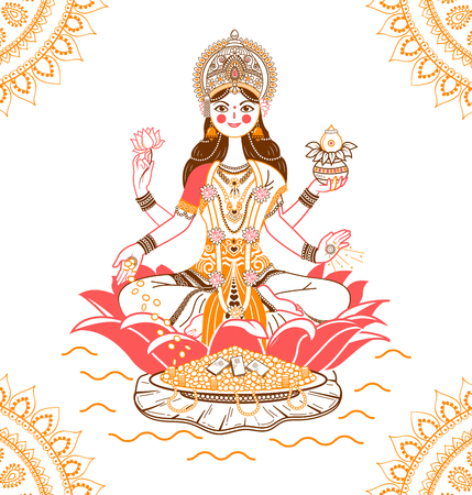 Stock Vector East Many Armed Goddess On A Beige Background