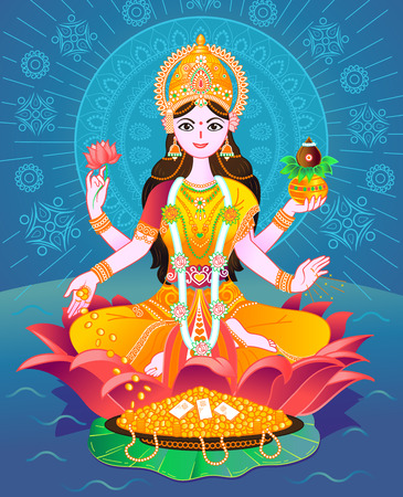 Beautiful Illustration,Poster Or Banner With Goddess Maa Laxmi Of Indian Dhanteras Festival Background.  イラスト・ベクター素材