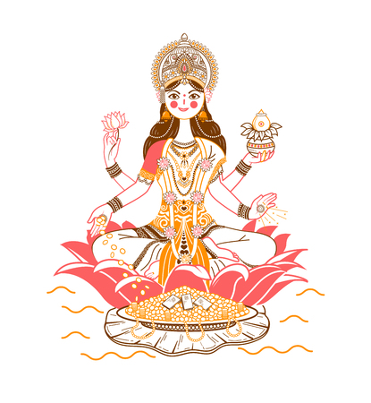Illustration with hindu godess Laxmi or lakshmi. Icon in a linear style