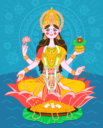 Illustration of the goddess Lakshmi on a lotus in a flat style
