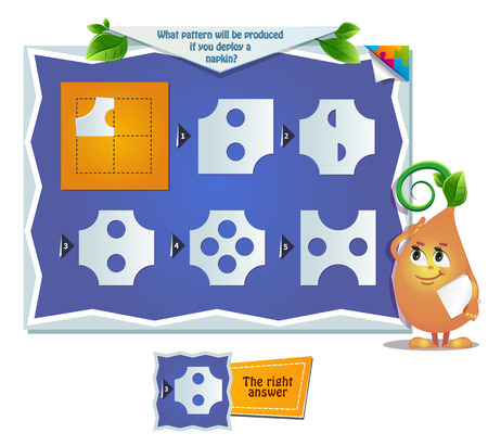 educational game for kids, puzzle. development of spatial thinking in children. Task game what pattern will be produced if you deploy a napkin? Vectores