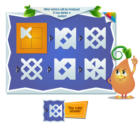 educational game for kids, puzzle. development of spatial thinking in children. Task game what pattern will be produced if you deploy a napkin? Stock Illustratie