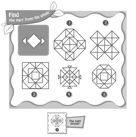 educational game for kids and adults, puzzle, development of logic, IQ. black and white coloring book.