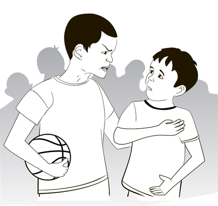 Illustration of the conflict of two boys in a basketball lesson. Black and white illustration Vector Illustration