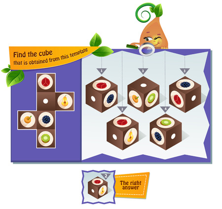 educational game for kids, puzzle. development of spatial thinking in children (suitable both for kids and adults). Task game Find the cube that is obtained from this template