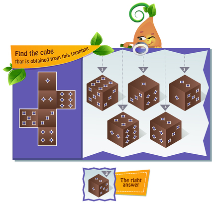 Educational game for kids, puzzle. development of spatial thinking in children. Task game Find the cube that is obtained from this template
