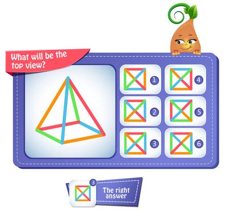 Lernspiel für Kinder, Puzzle. Entwicklung des räumlichen Denkens bei Kindern. Aufgabenspiel, welches die Draufsicht sein wird