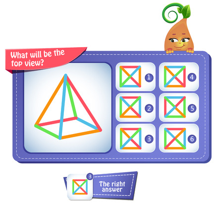 Educational game for kids, puzzle. development of spatial thinking in children. Task game what will be the top view