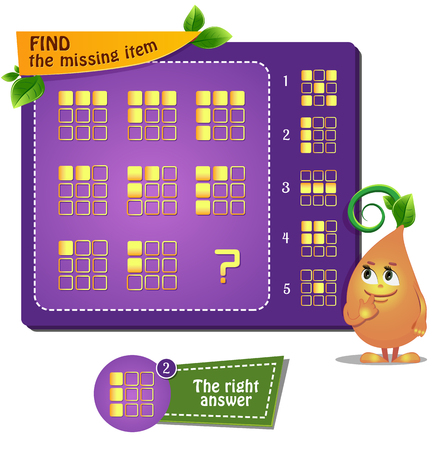 Educational game for kids and adults. development of logic, iq. Task game find the missing item 일러스트