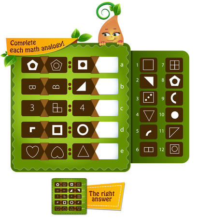 educational game for kids and adults development of logic, iq. Complete each math analogy Vector illustration.