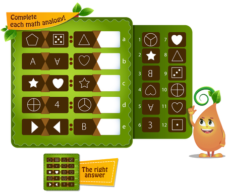 educational game for kids and adults development of logic, iq. Complete each math analogy Vettoriali