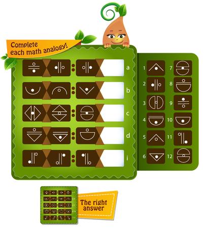 gioco educativo per lo sviluppo della logica per bambini e adulti, iq. Completa ogni analogia matematica