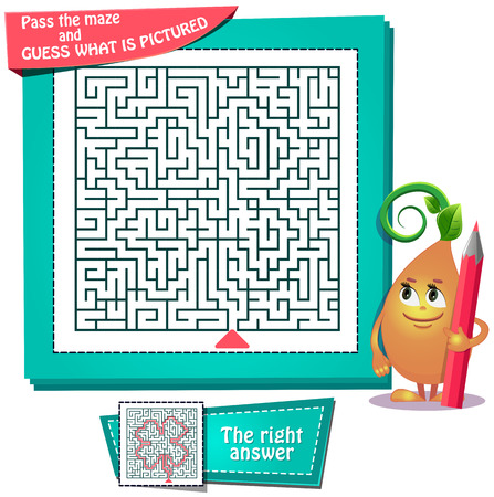 Task game for children to pass the maze and guess what is pictured Illustration