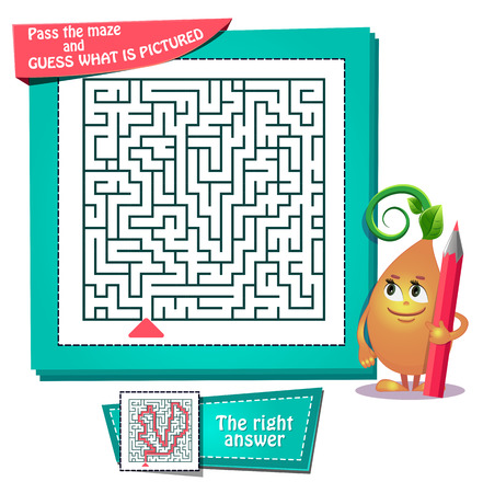 Educational game for kids and adults development of logic maze vector Illustration