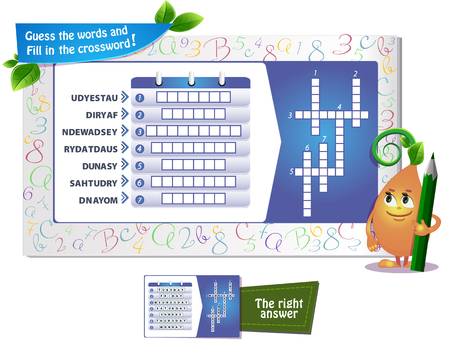 Educational game for kids and adults development of logic, iq. Task game guess the words and fill in the crossword.