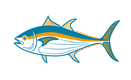 Illustration of tuna. Icon in a linear style