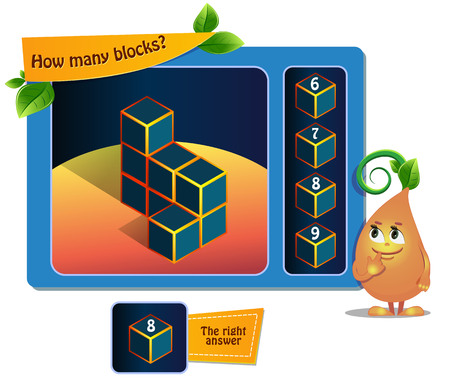 educational game for kids, puzzle. development of spatial thinking in children (suitable both for kids and adults). Task game How many blocks 矢量图像