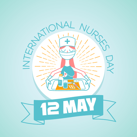 Calendar for each day on may 12. Greeting card. Holiday - International Nurses Day. Icon in the linear style