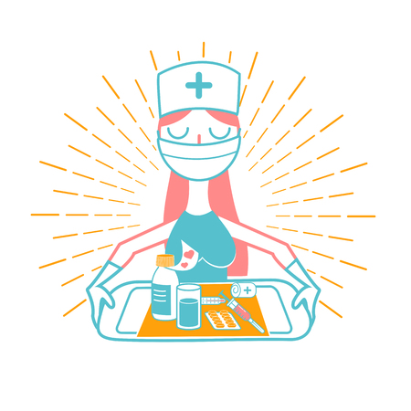nurse icon, vector medical care, hospital symbol. Icon in the linear style Çizim