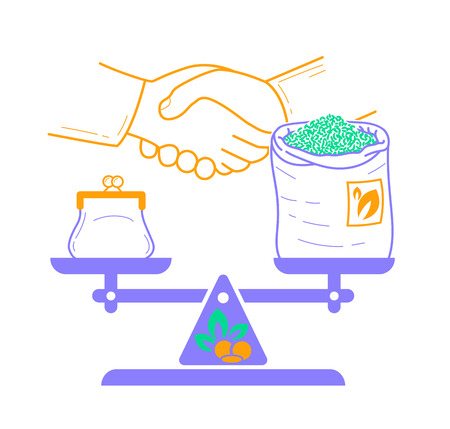 Concept of fair trade in the form of balanced weights with money and a bag of tea against the background of a handshake. Icon in the linear style