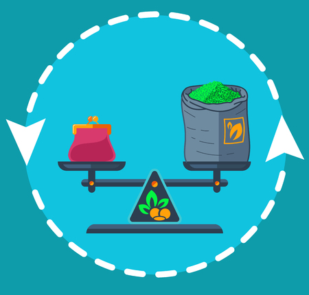 Concept of fair trade in the form of balanced weights with money and a bag of tea on the arrow of the exchange. Icon in the flat style