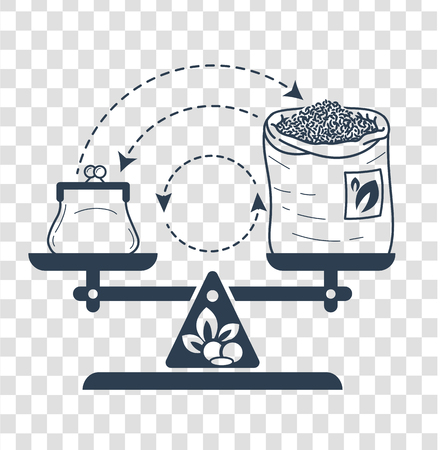 Concept of fair trade in the form of balanced weights with money and a bag of tea on the arrow of the exchange. Icon in the linear style