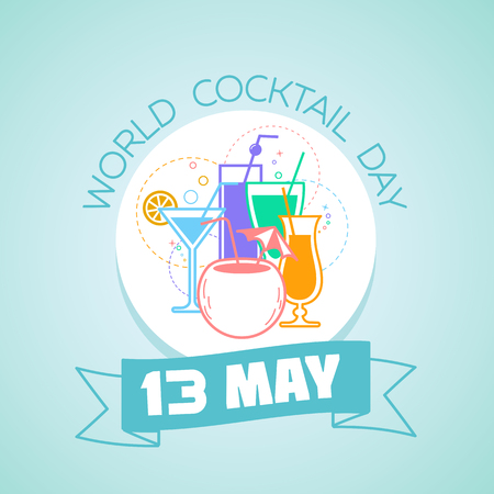 Calendar for each day on may 13. Greeting card. Holiday - World Cocktail Day. Icon in the linear style