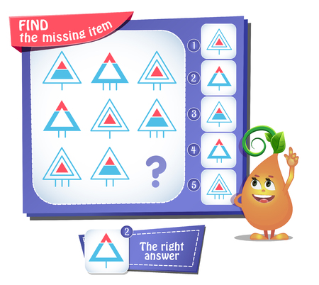 Educational game for kids and adults, puzzle. development of logic, iq. Task game find the missing item