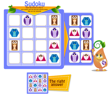 Sudoku game for children with pictures shapes. Kids activity sheet. Training logic, educational game
