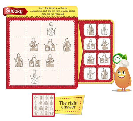 Sudoku game for children and adults with pictures kitchen aprons. Kids activity sheet. Training logic, iq, educational game