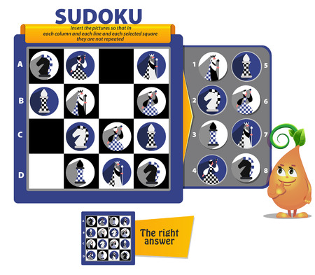 Sudoku game for children and adults. educational game for kids, puzzle. development of logic, iq Banque d'images - 121821794
