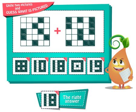 educational game for kids and adults development of logic, iq. Task game for children unite two pictures and guess what is pictured Ilustração