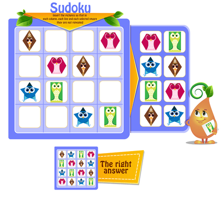 Sudoku game for children with pictures shapes. Kids activity sheet. Training logic, educational game Banque d'images - 121821807