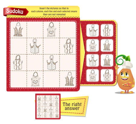 Sudoku game for children and adults with pictures kitchen aprons. Kids activity sheet. Training logic, educational game Ilustração