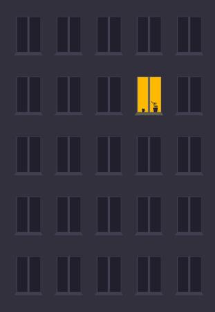 concept de solitude, sous forme de lumière dans la fenêtre de nuit de la ville. Symbole d'attente, de rêves et de destins