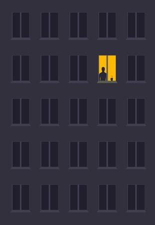 pojęcie samotności w postaci sylwetki człowieka w nocnym oknie miasta. symbol oczekiwania i zamyślenia