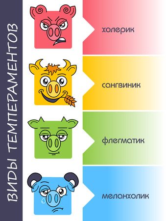 four temperaments set in Russian. transfer Choleric and melancholic, sanguine and phlegmatic personality types