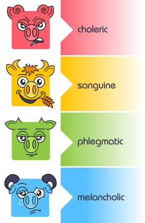 four temperaments set. Choleric and melancholic, sanguine and phlegmatic personality types Illustration