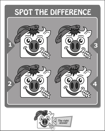 visual game for children and adults. Task to spot the difference. black and white vector illustration Vectores