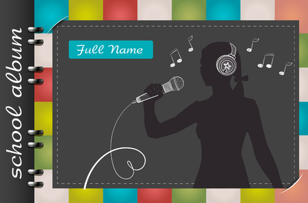 template of a school album, in the form of a silhouette of a child with elements chalked on a chalkboard in the form of childrens dreams about the future profession or a hobby of a child 일러스트