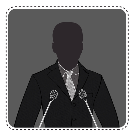 avatar anonymous in the form of a silhouette of a man in front of a microphone
