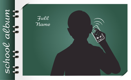 template of a school album, in the form of a silhouette of a child with elements chalked on a chalkboard in the form of childrens dreams about the future profession or a hobby of a child Illustration