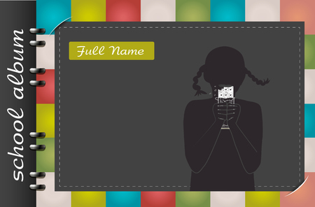 template of a school album, in the form of a silhouette of a child with elements chalked on a chalkboard in the form of childrens dreams about the future profession or a hobby of a child Stock Illustratie