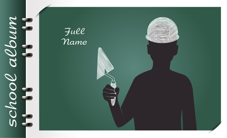 template of a school album, in the form of a silhouette of a child with elements chalked on a chalkboard in the form of childrens dreams about the future profession or a hobby of a child Vectores