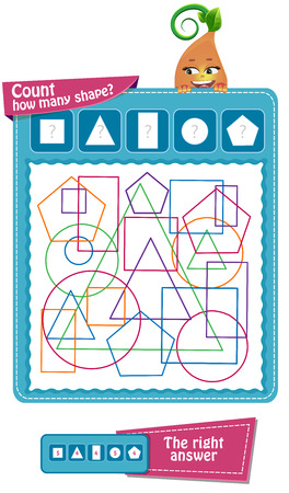 educational game for children to attention. Task game count how many geometric shapes Ilustrace