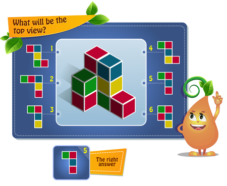 jeu éducatif pour les enfants, puzzle. développement de la pensée spatiale chez les enfants (convient aussi bien aux enfants qu'aux adultes). Jeu de tâches quelle sera la vue de dessus ? Vecteurs