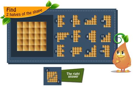gioco educativo iq per bambini e adulti sviluppo della logica, iq. Il compito trova 2 metà della forma Vettoriali