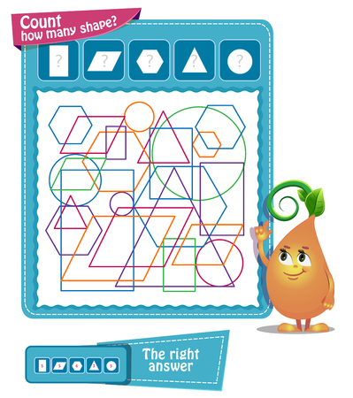 educational game iq for kids and adults. Task game - count how many shapes
