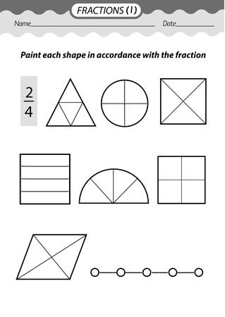 Material de formación: libro para colorear. Resolver ejemplos y fracciones de color. Ilustración vectorial en blanco y negro. Ilustración de vector